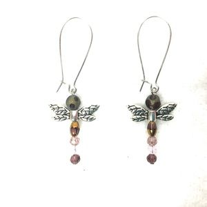 """Dragon Fly Earrings w/Various Crystals  2  1/4"""" L"""